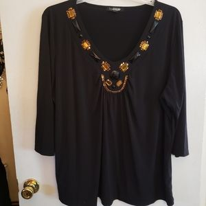 Woman by Design 3x Jeweled 3/4 sleeve Top